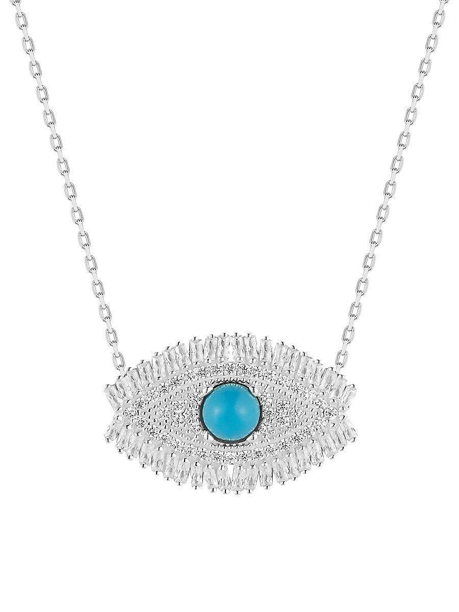 Women's Rhodium-Plated Sterling Silver & Cubic Zirconia Evil Eye Pendant Necklace