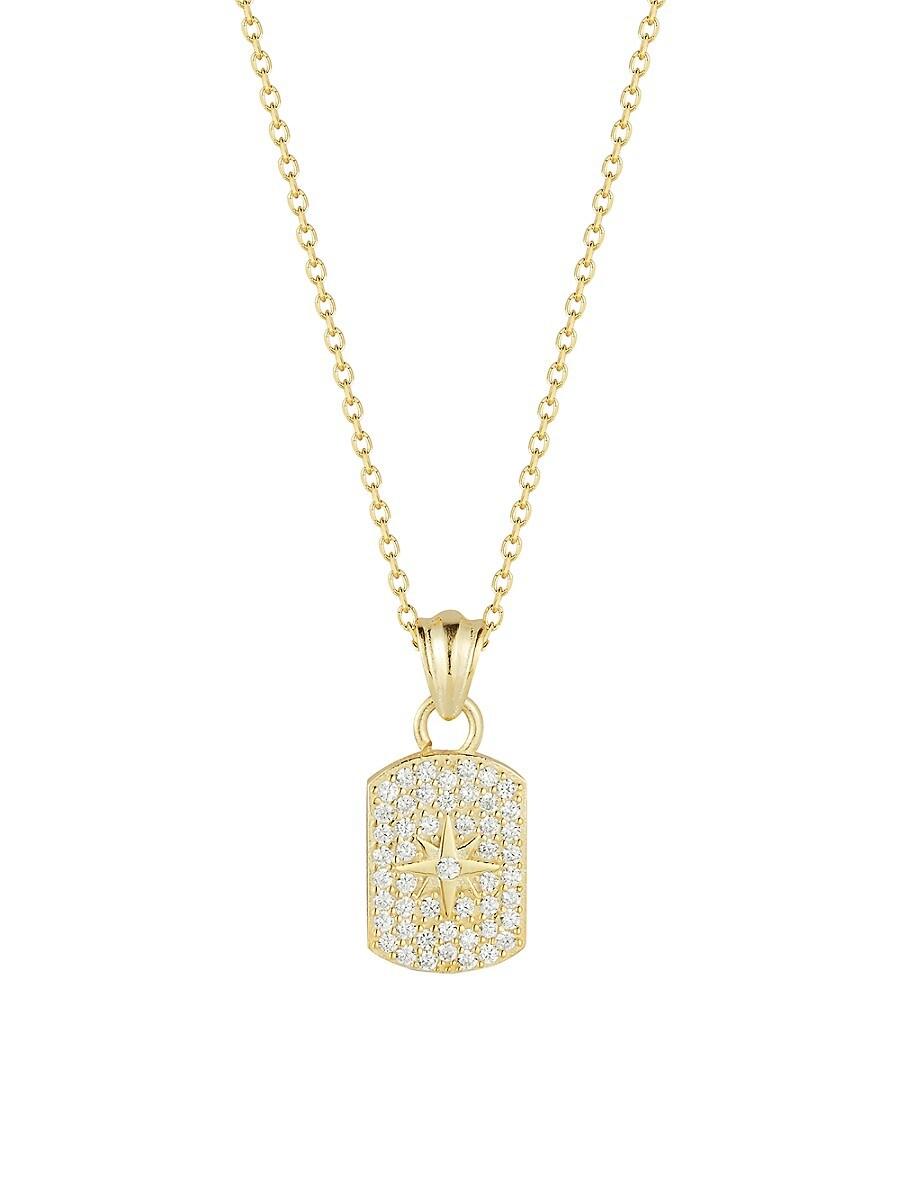 Women's 14K Gold Vermeil & Cubic Zirconia Starburst Dog Tag Pendant Necklace