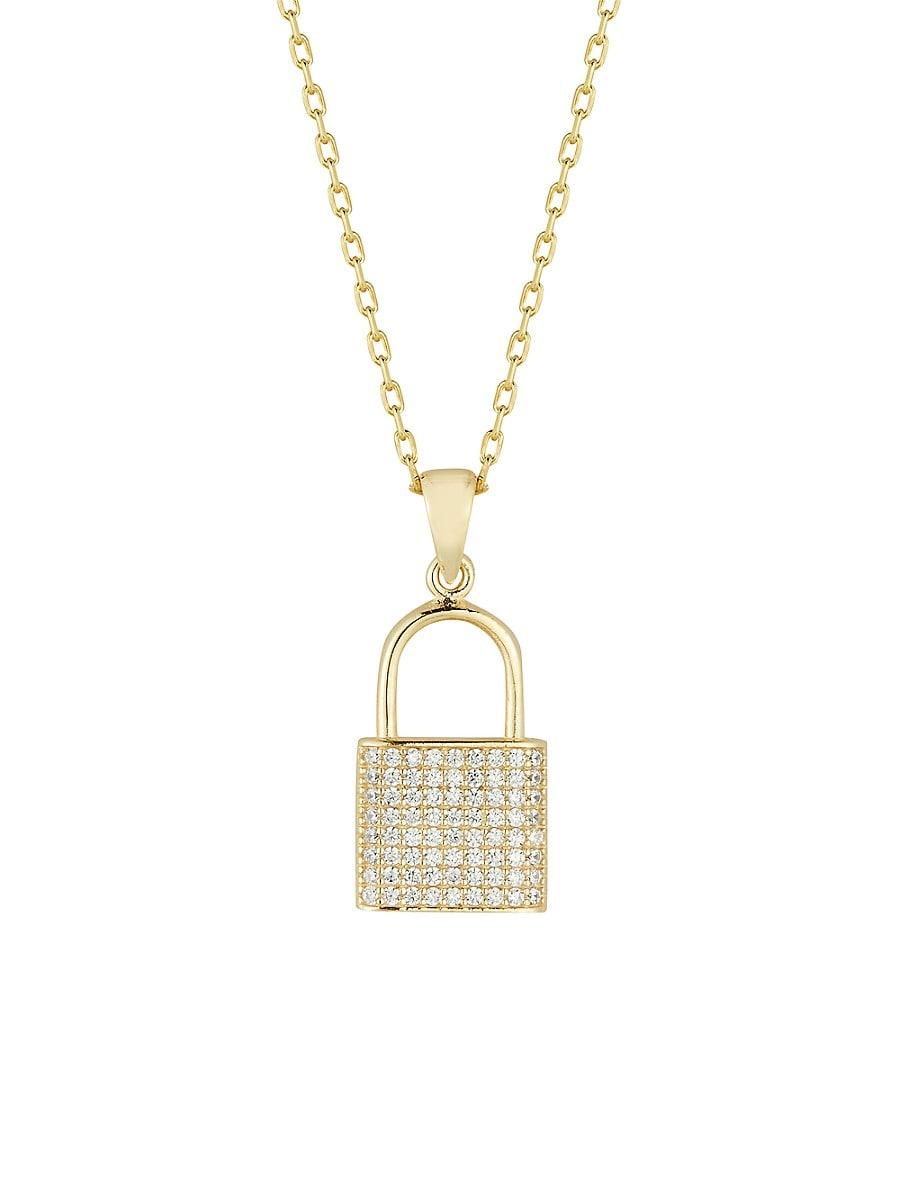 Women's 14K Gold Vermeil & Cubic Zirconia Padlock Pendant Necklace