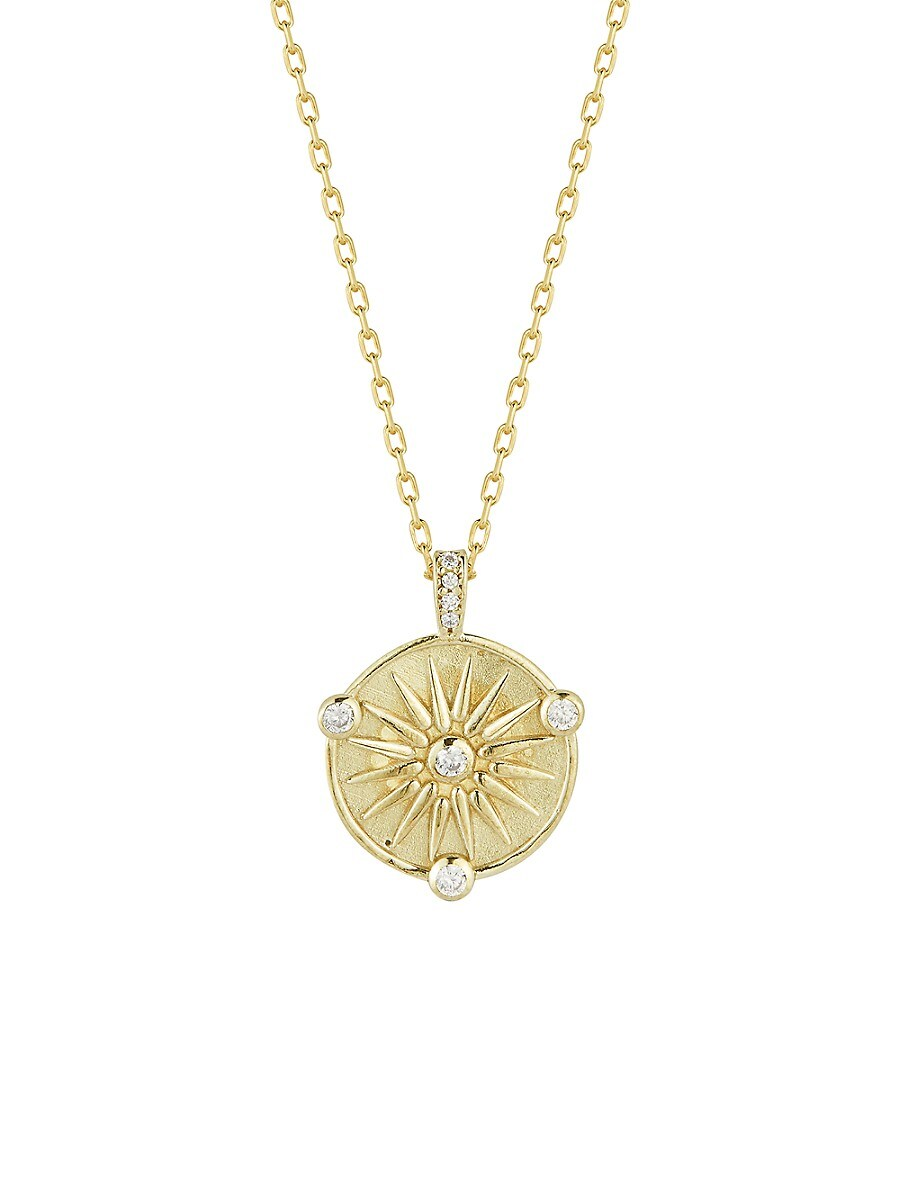 Women's 14K Yellow Gold Vermeil & Cubic Zirconia Sun Pendant Necklace
