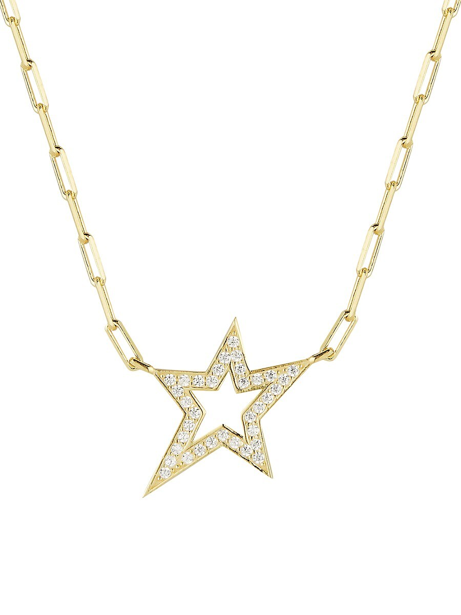 Women's 14K Yellow Gold & Cubic Zirconia Star Pendant Paperclip Chain Necklace