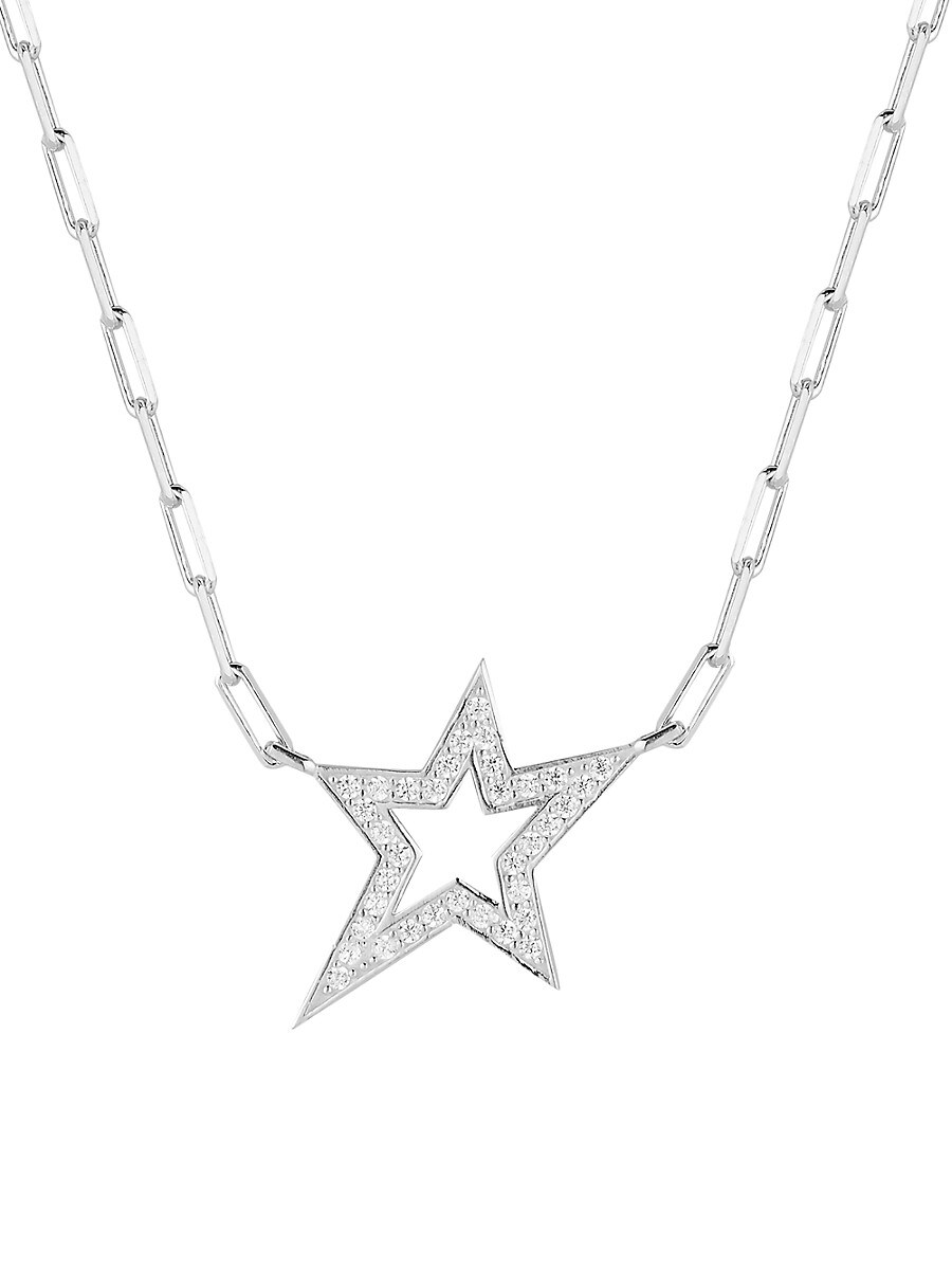 Women's Rhodium-Plated Sterling Silver & Cubic Zirconia Star Pendant Paperclip Chain Necklace