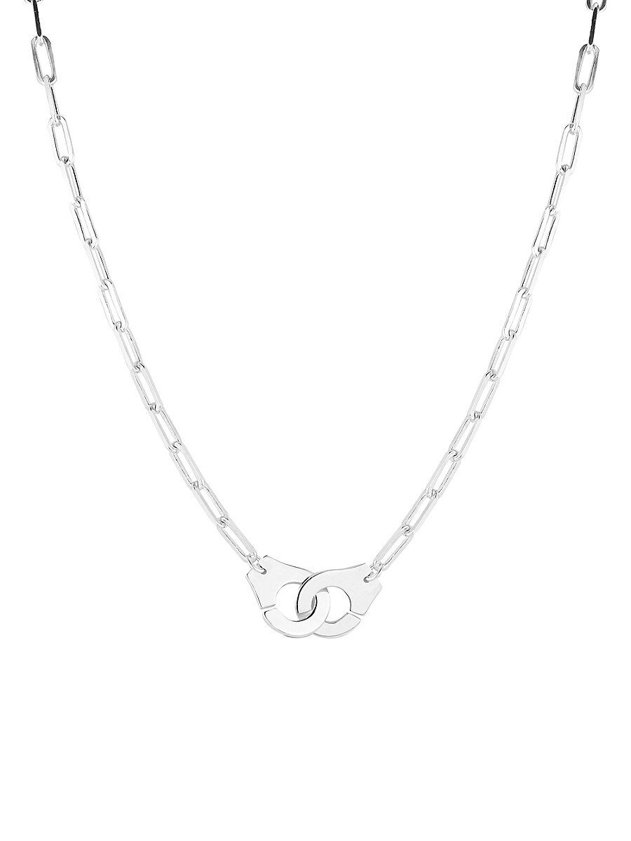 Women's Rhodium-Plated Sterling Silver Handcuff Pendant Paperclip Chain Necklace