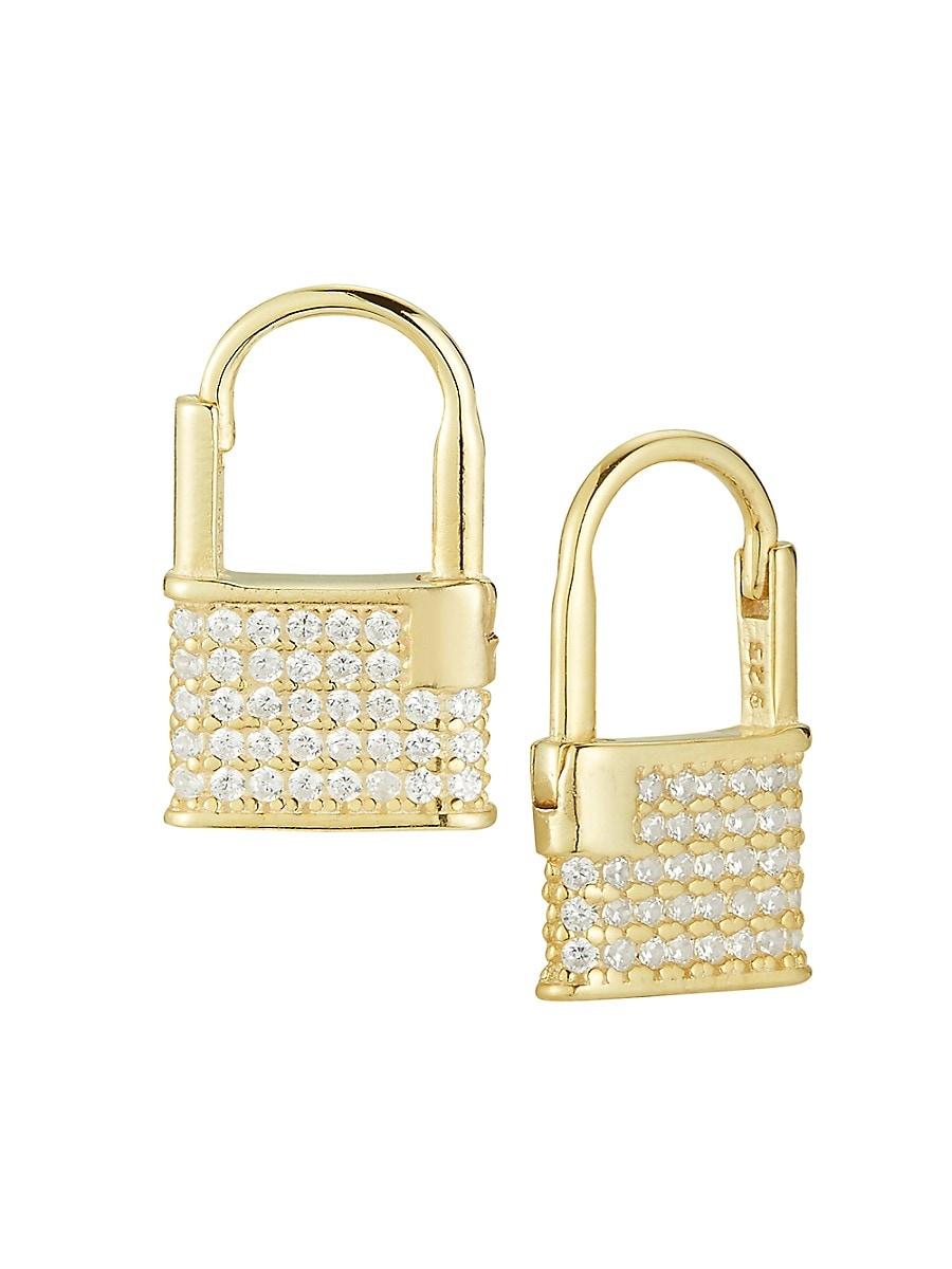 Women's 14K Gold Vermeil & Crystal Padlock Earrings