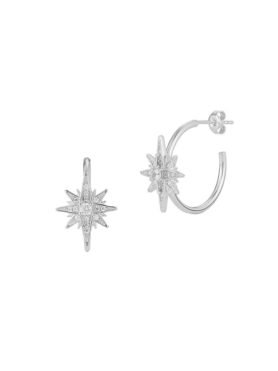 Women's Rhodium-Plated Sterling Silver & Cubic Zirconia Starburst Hoop Earrings