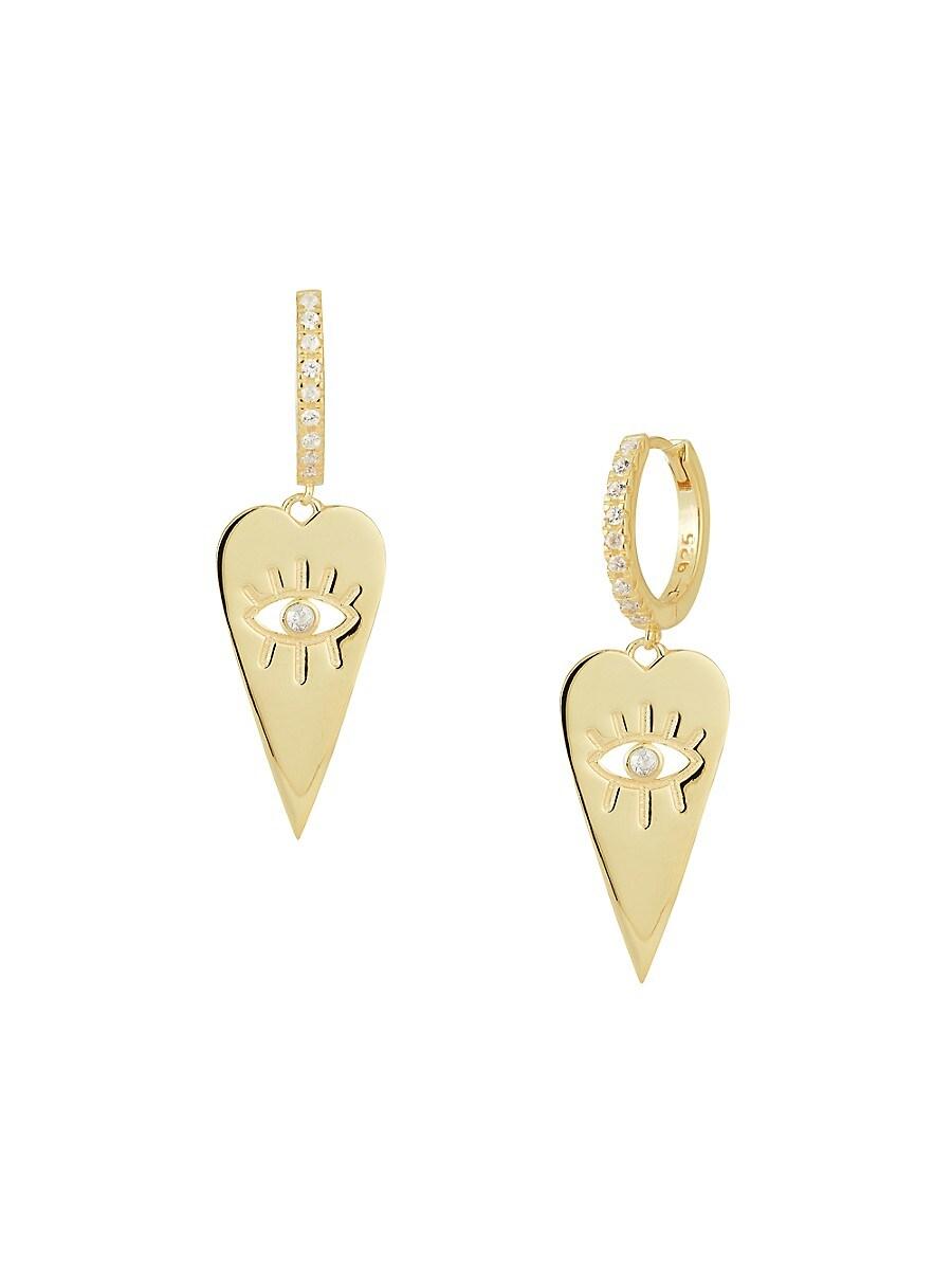 Women's 14K Gold Vermeil & Cubic Zirconia Evil Eye Heart Huggie Earrings