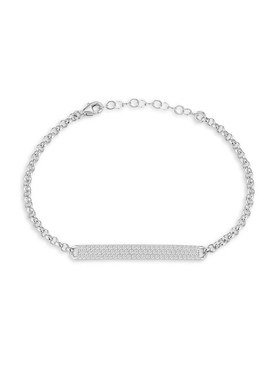 Women's Rhodium-Plated Sterling Silver & Cubic Zirconia ID Bracelet