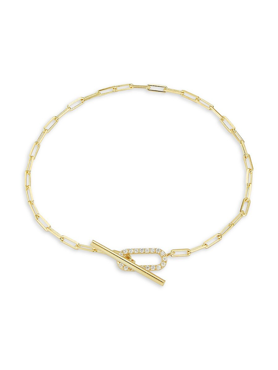 Women's 14K Yellow Gold Vermeil & Cubic Zirconia Paperclip Chain Bracelet