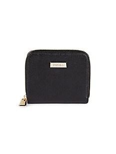 훌라 Furla Leather Zip-Around Wallet,NERO