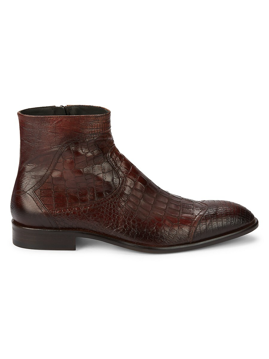 Men's Croc-Embossed Leather Boots