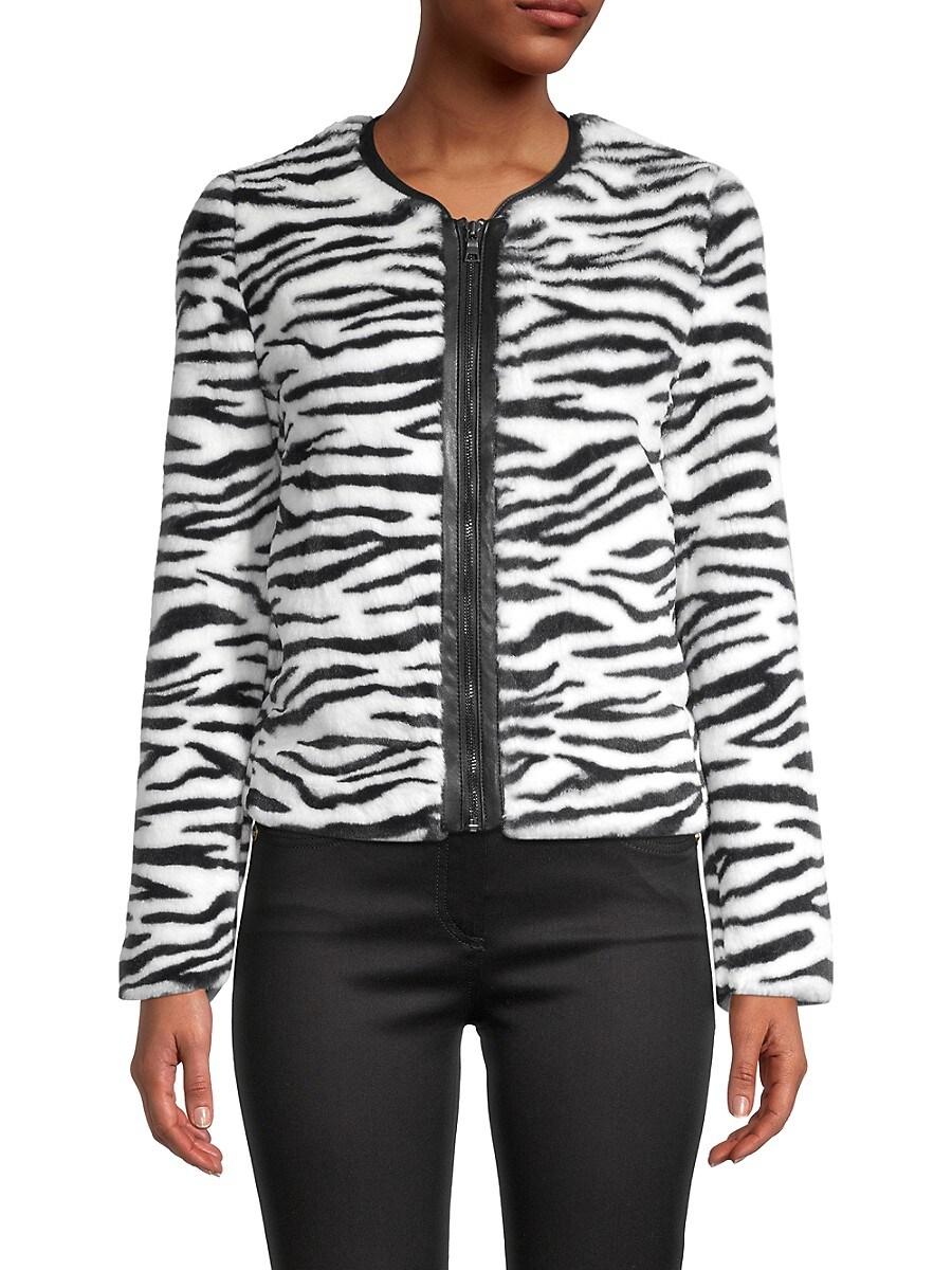 Women's Zebra-Print Faux Fur Jacket