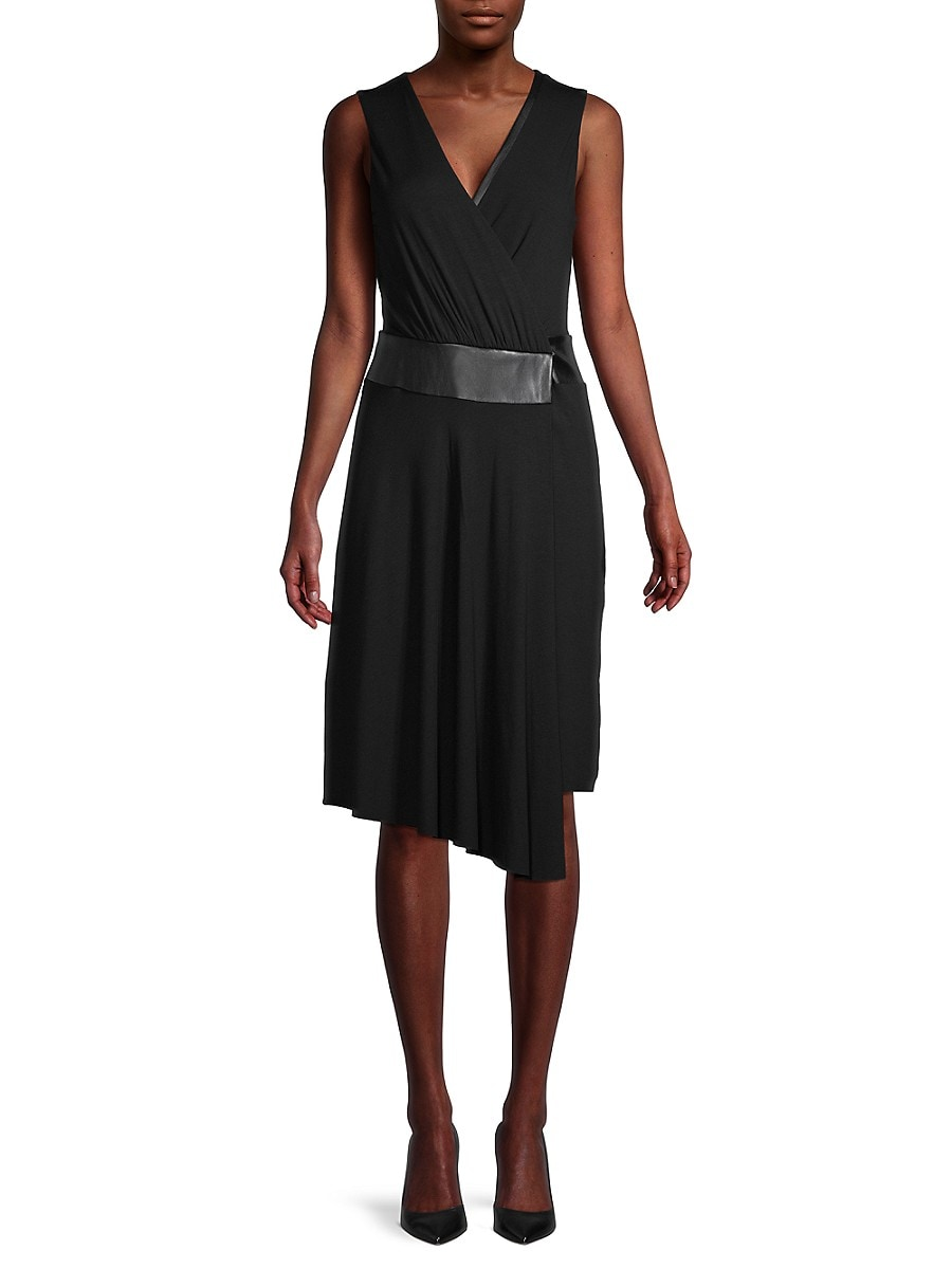 Bailey 44 Women's Sleeveless Faux Wrap Dress - Black - Size 0