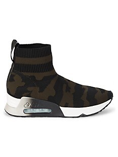 아쉬 카모 삭스 스니커즈 ASH Lulu Camouflage Sock Sneakers,BLACK MILITARY GREEN