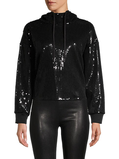 Alice And Olivia Niki Sequin Funnelneck Hoodie In Black