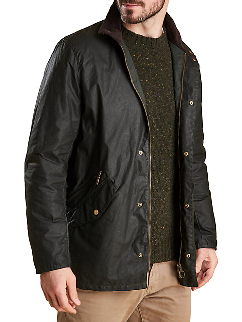 Barbour Spread Collar Cotton Jacket In Sage