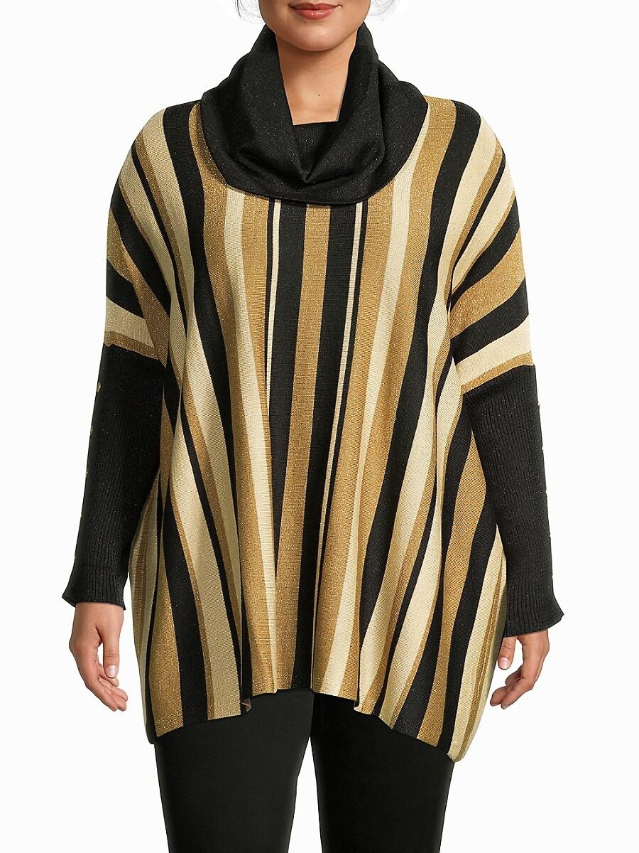Women's Metallic Stripe-Print Poncho Sweater
