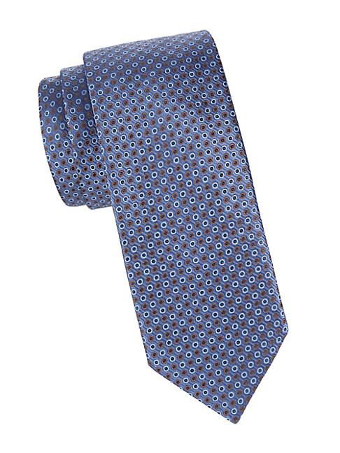 Eton Geometric Silk Tie In Blue