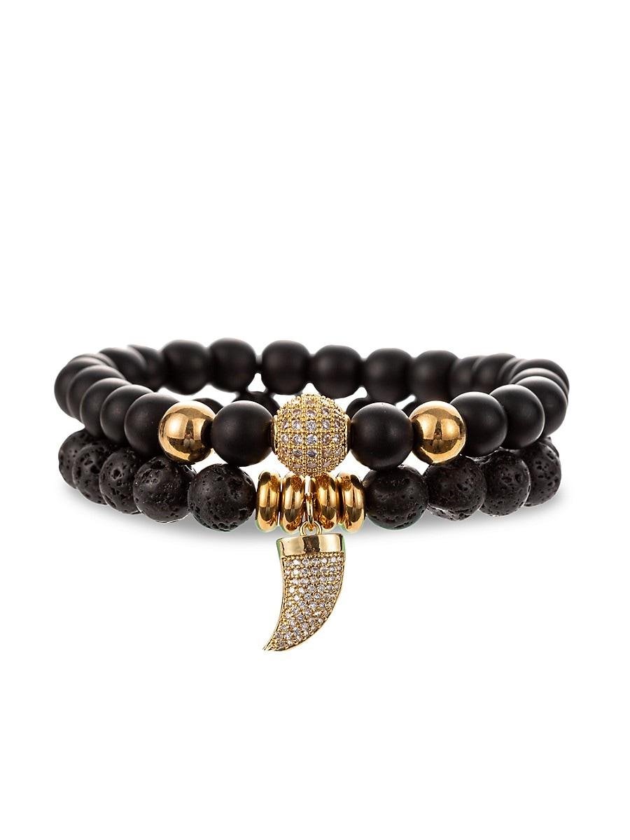 Men's Eli 2-Piece Goldtone & Multi-Stone Horn Charm Bracelet Set