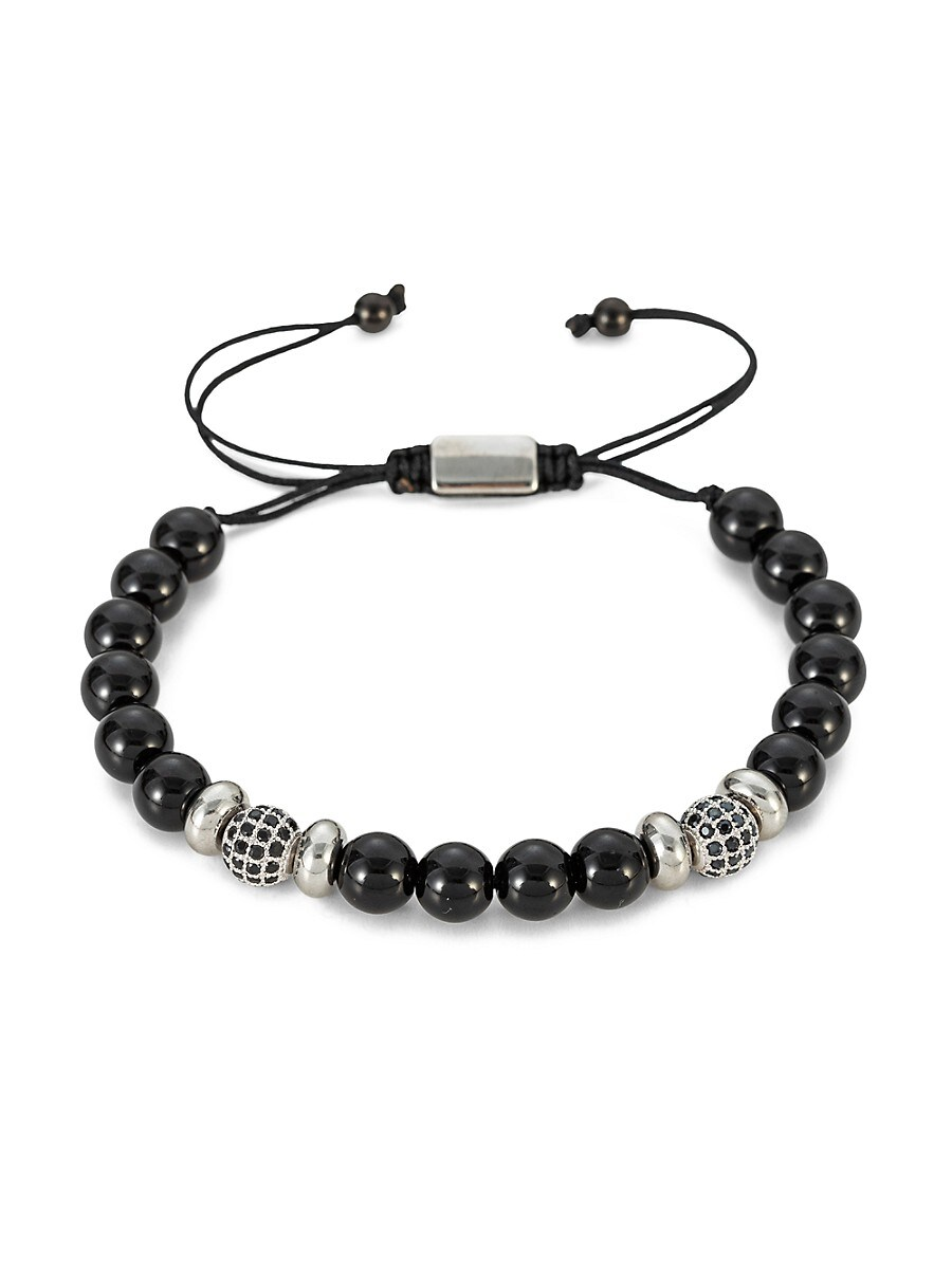 Men's Charles Silvertone Black Agate Beaded Bracelet