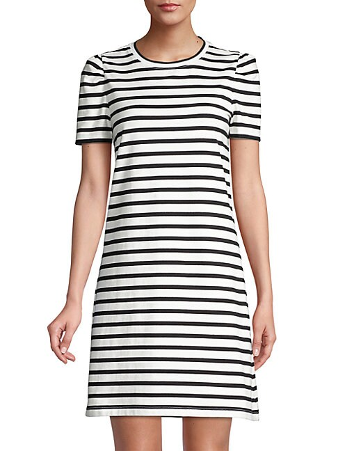 Kate Spade PUFF-SLEEVE STRIPED T-SHIRT DRESS