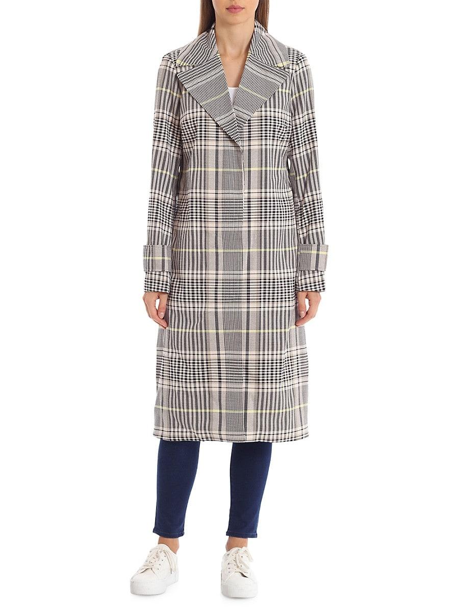 Women's Menswear Plaid-Printed Trench Coat