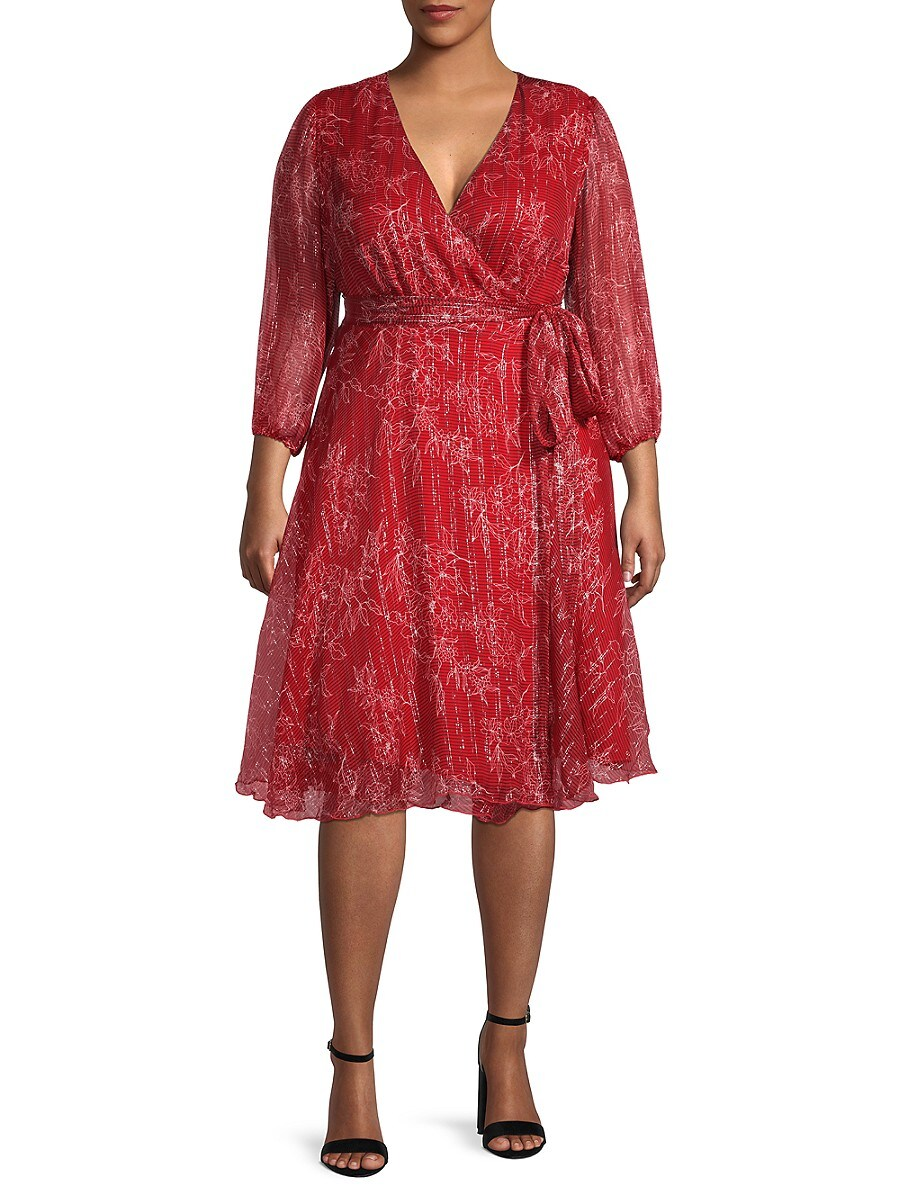 Women's Floral-Print Silk-Blend Wrap Dress