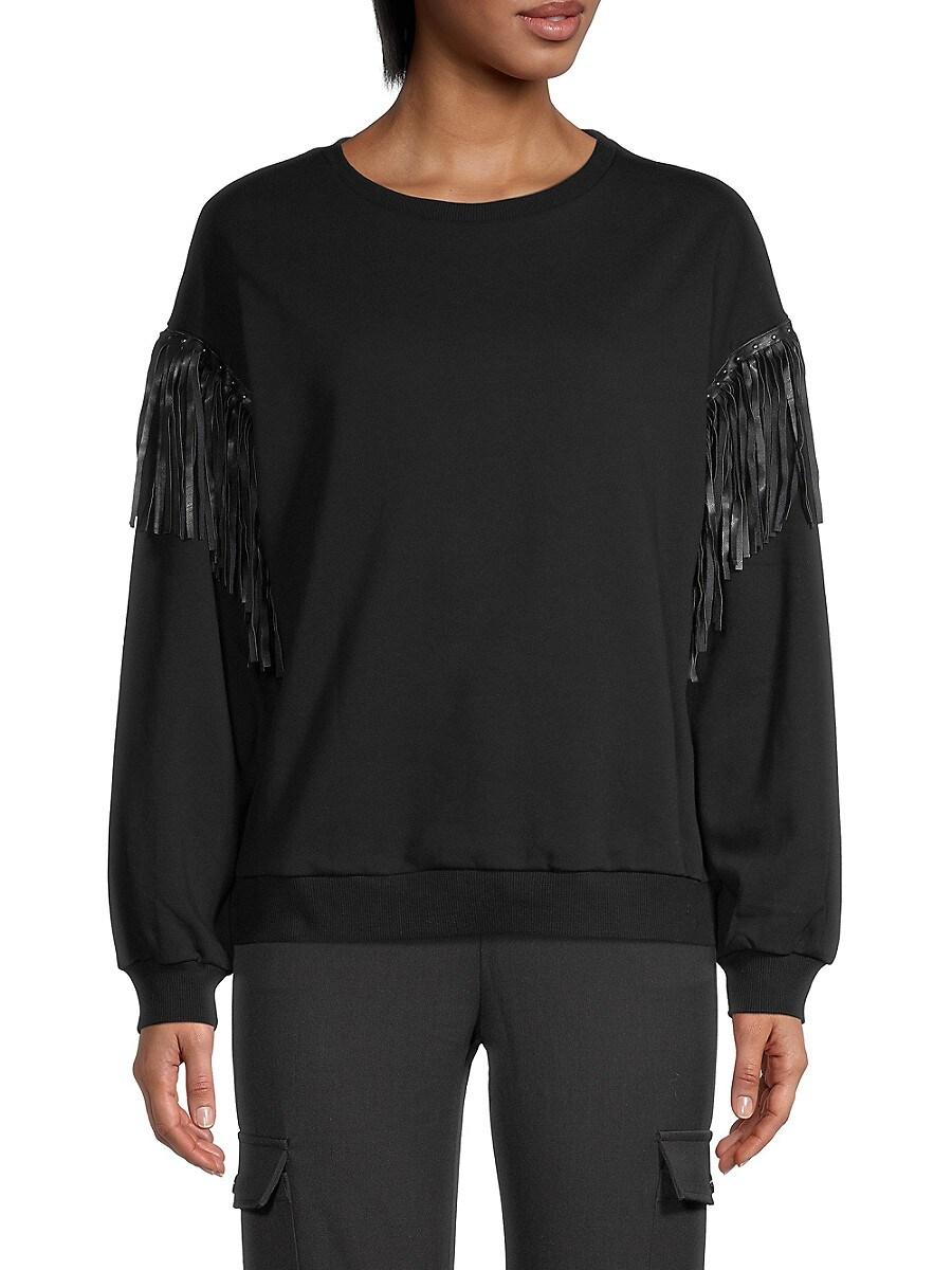 Women's Leather Fringe Sweater