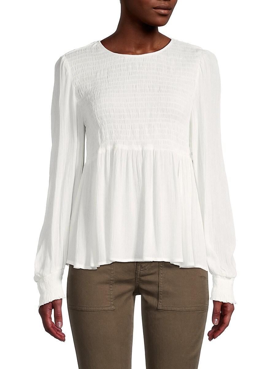 Women's Smocked Long-Sleeve Top