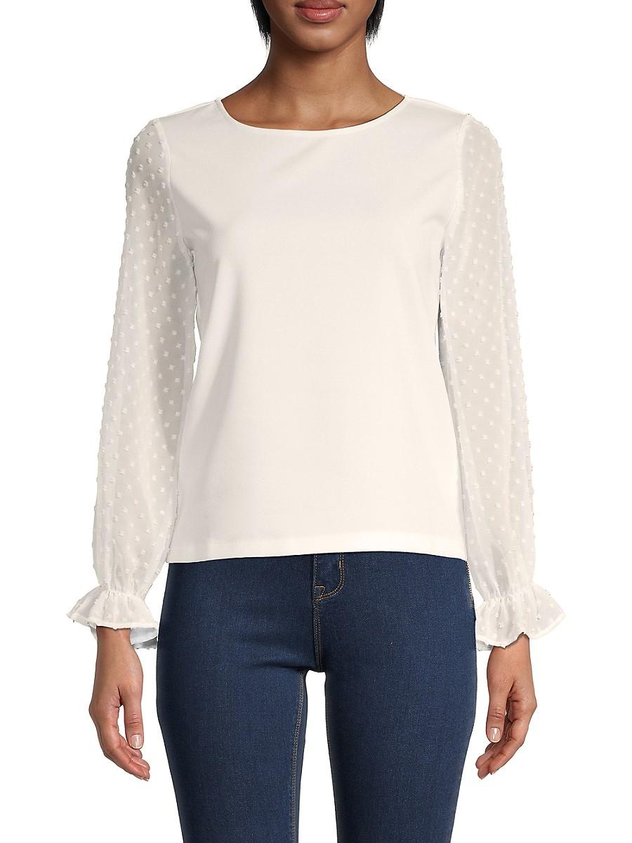 Women's Organza Lace-Sleeve Top