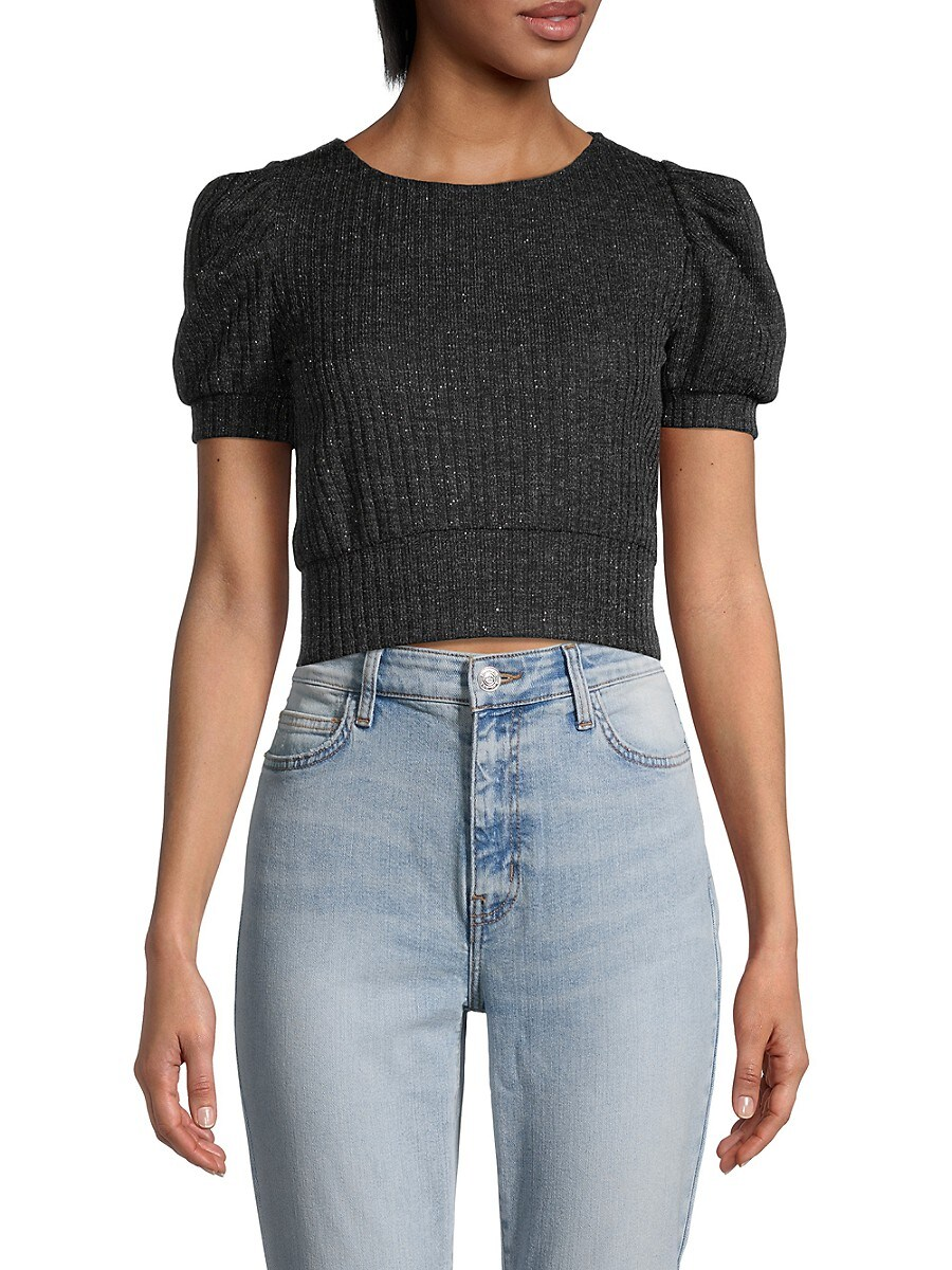 Women's Puff-Sleeve Cropped Sweater