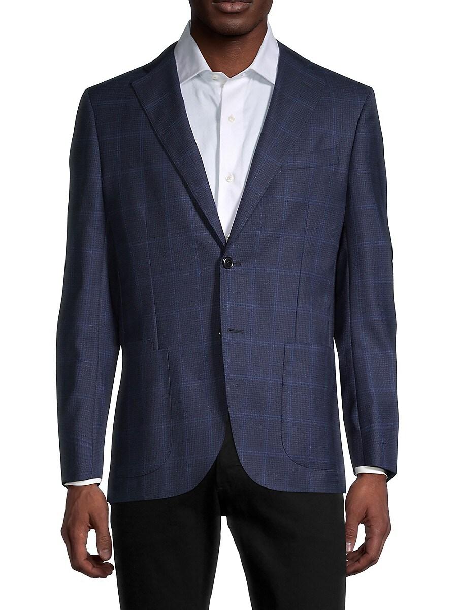 Men's Standard-Fit Windowpane Wool Jacket