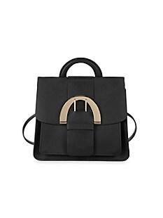 잭 잭 포즌 Zac Zac Posen Biba Buckle Convertible Leather Backpack,BLACK