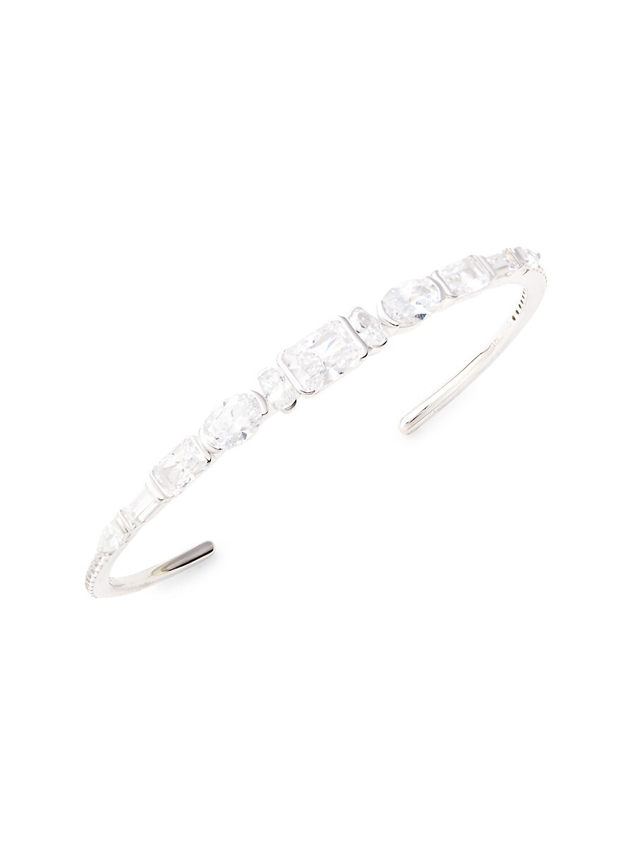 Women's White Rhodium-Plated Sterling Silver & Crystal Cuff Bracelet