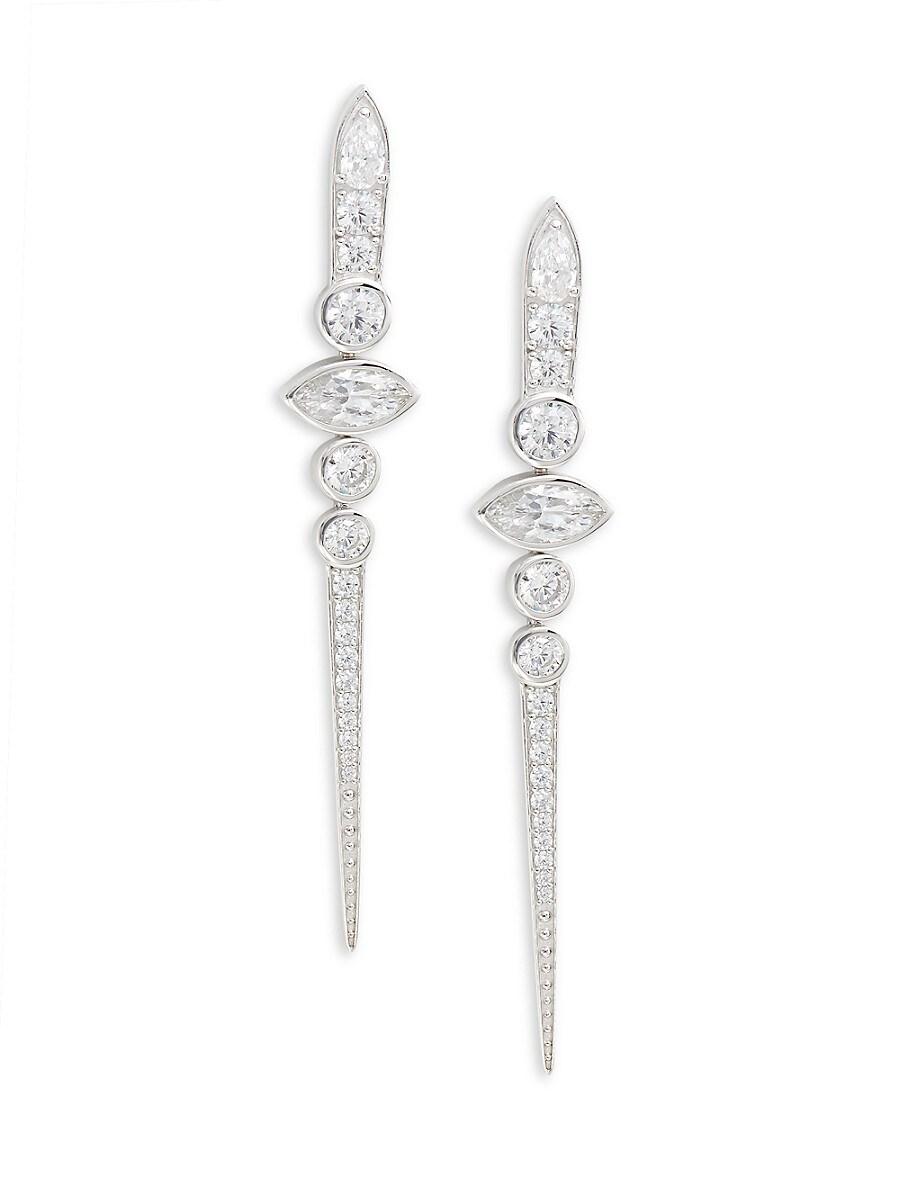 Women's Rhodium-Plated Sterling Silver & Crystal Drop Earrings