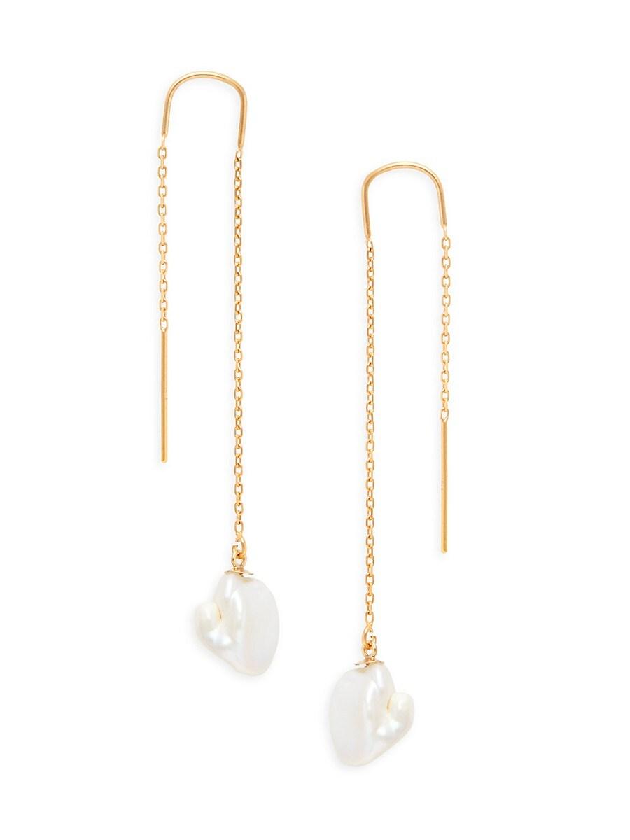 Women's 14K Yellow Gold & 9-10MM Baroque Freshwater Pearl Earrings