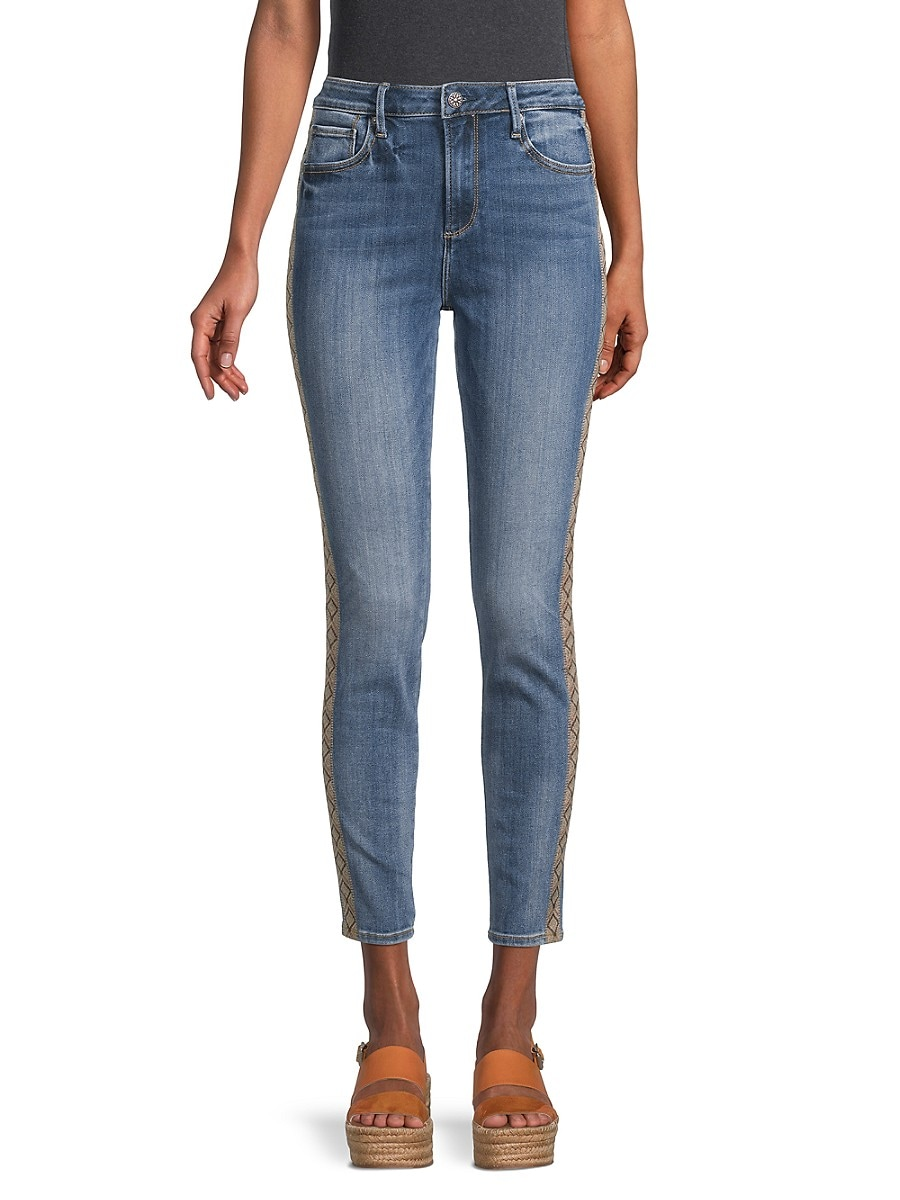 Driftwood Women's Jackie High-Rise Side-Embroidered Jeans - Light Wash - Size 26 (2-4)