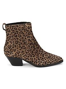 아쉬 부츠 ASH Future Leopard-Print Suede Booties,TAN