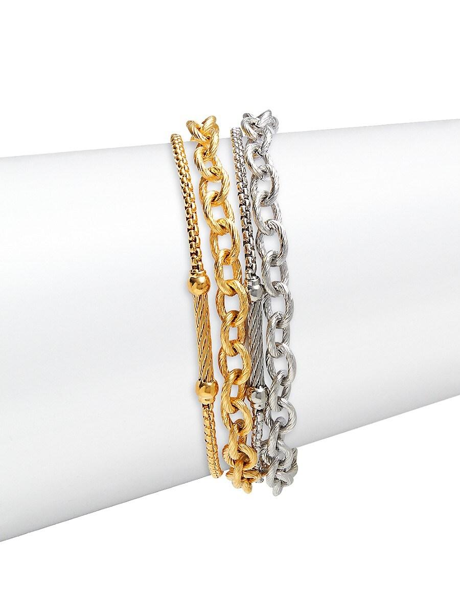 Women's 18K White Gold & Stainless Steel Multi-Layered Bracelet