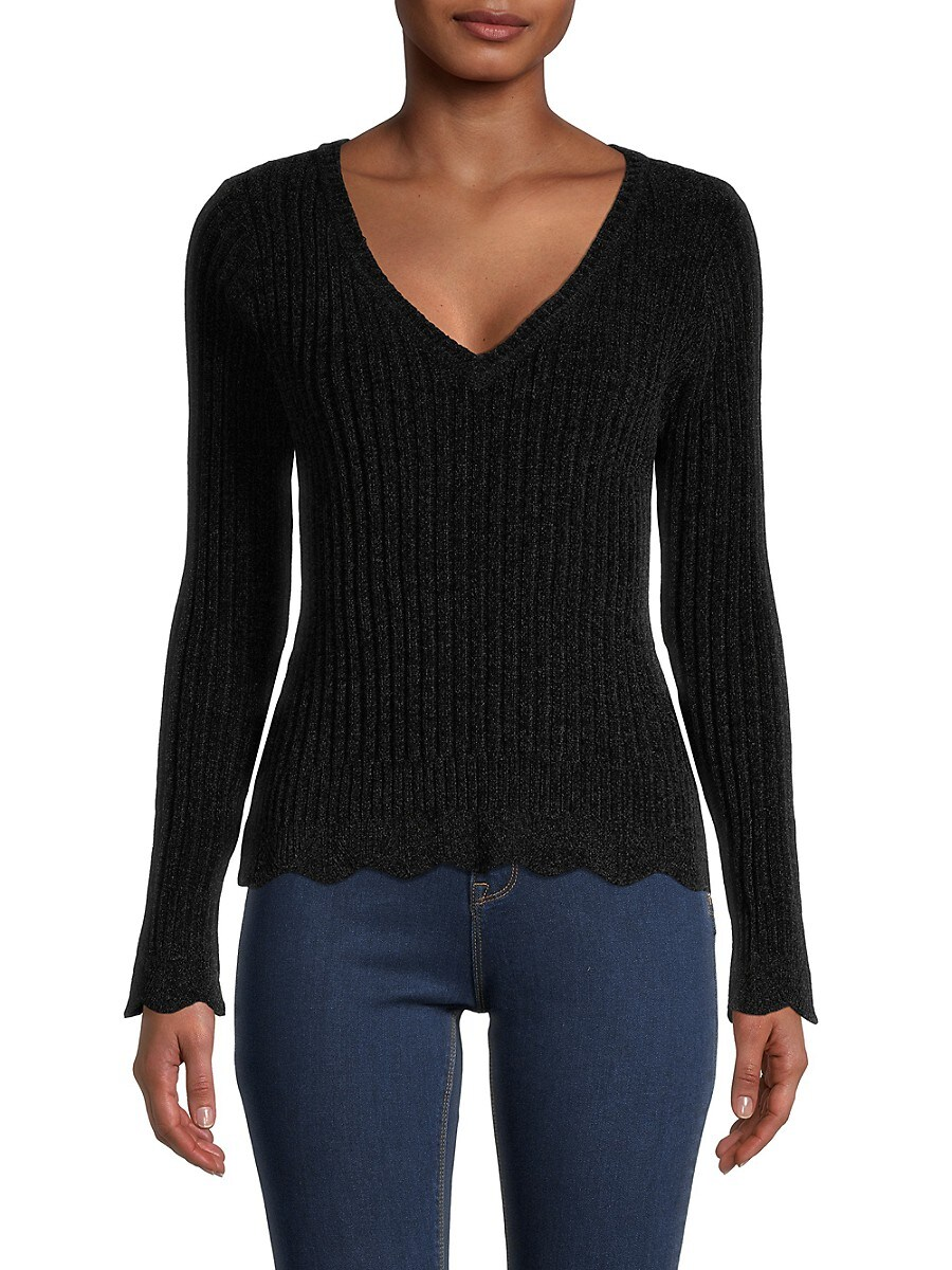 Heroes & Dreamers Women's V-Neck Sweater - Black - Size L