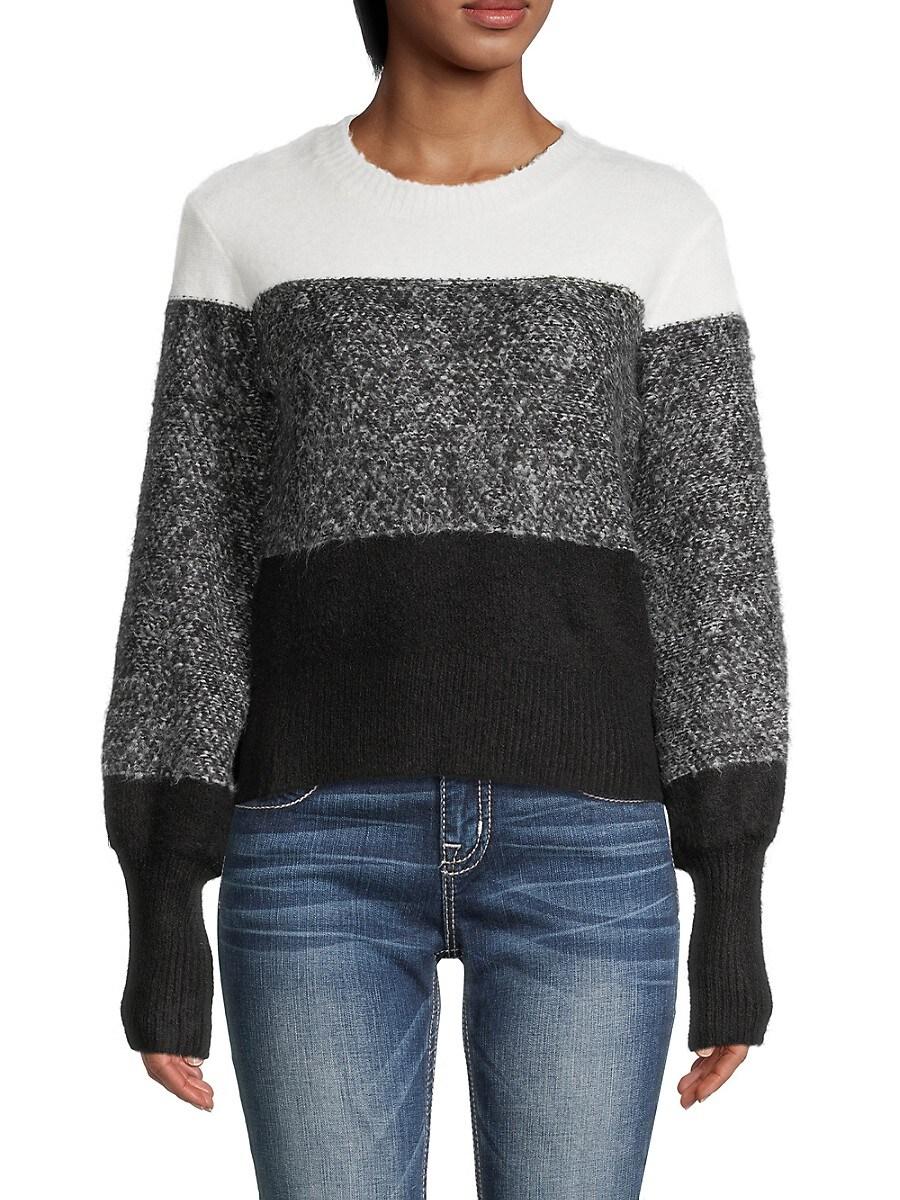 Heroes & Dreamers Women's Colorblock Crewneck Sweater - Winter White Grey - Size XL