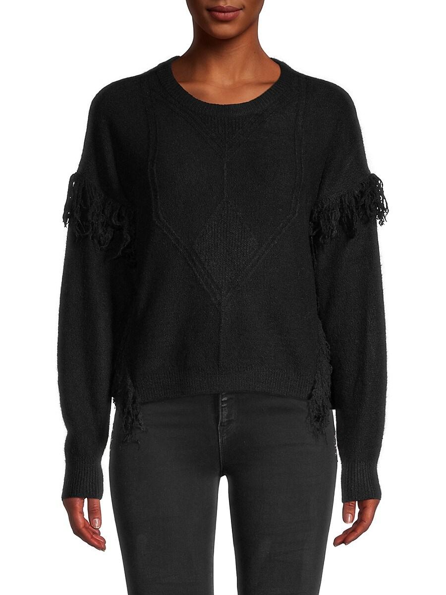 Heroes & Dreamers Women's Fringe-Trim Knitted Sweater - Black - Size L
