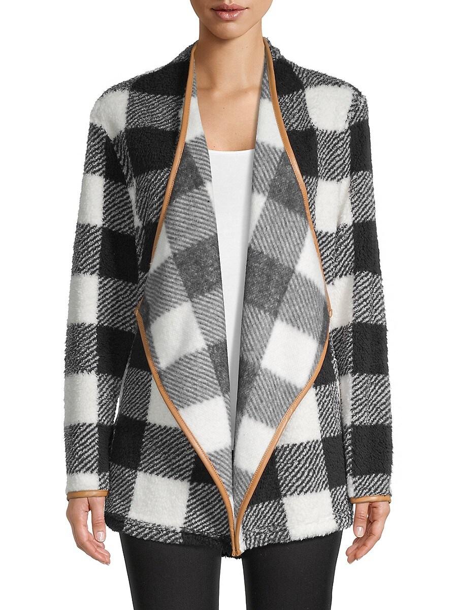 Women's Plaid Open-Front Blazer