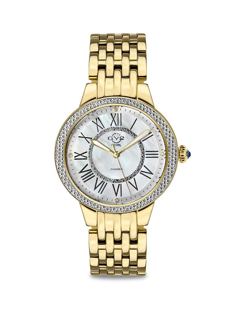GV2 Women's Astor II Goldtone Stainless Steel, Mother-Of-Pearl & Diamond Bracelet Watch