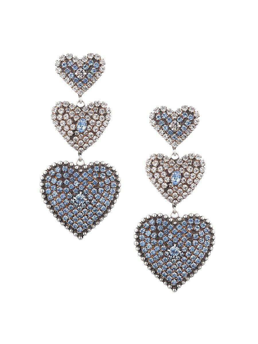 Women's Pavos Glass Crystal Heart Dangle Drop Earrings