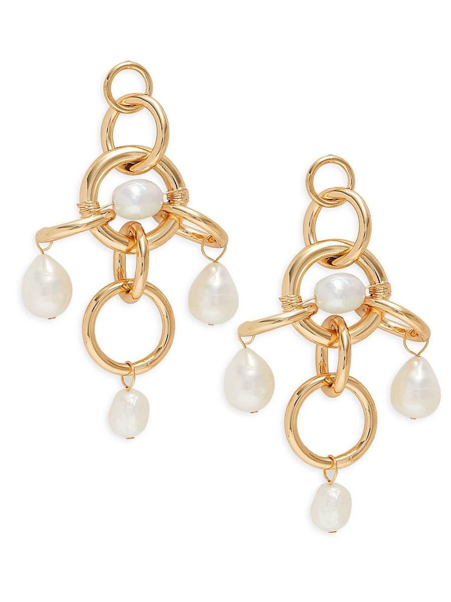 Women's Luis Goldplated & 9-10MM Baroque Pearl Link-Drop Earrings