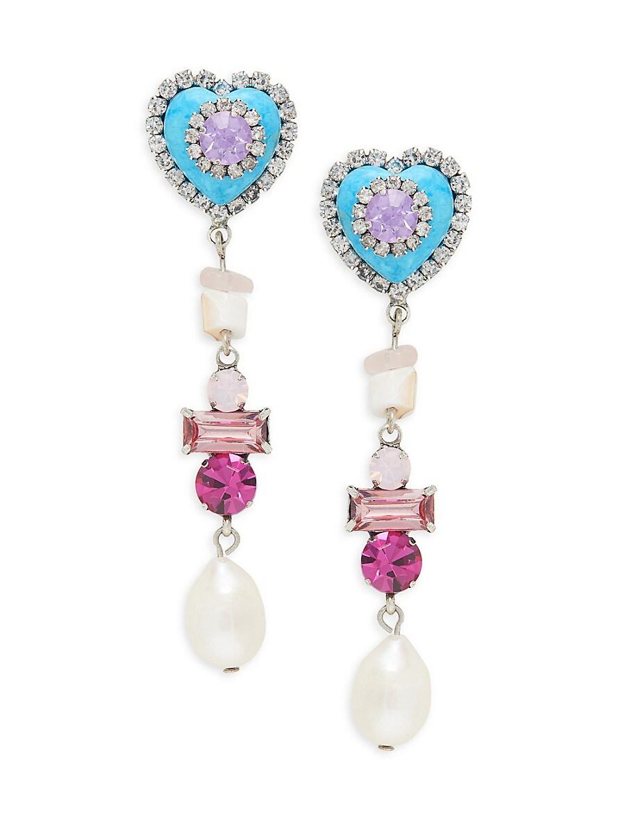 Women's Max 15MM Teardrop Pearl & Glass Crystal Drop Earrings