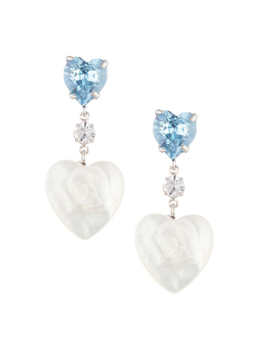 Women's Holli Crystal & Pearl Heart-Shaped Drop Earrings