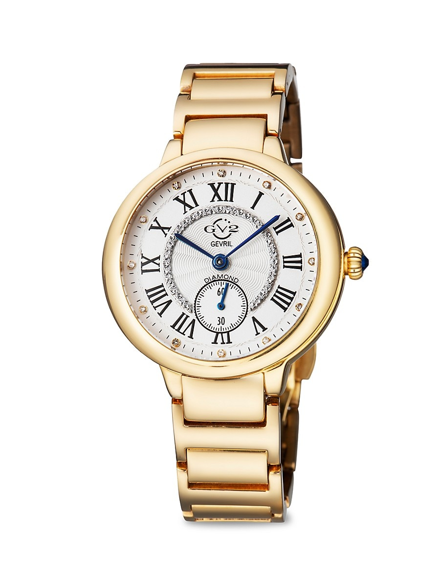 Women's Rome Goldtone Stainless Steel & Diamond Bracelet Watch