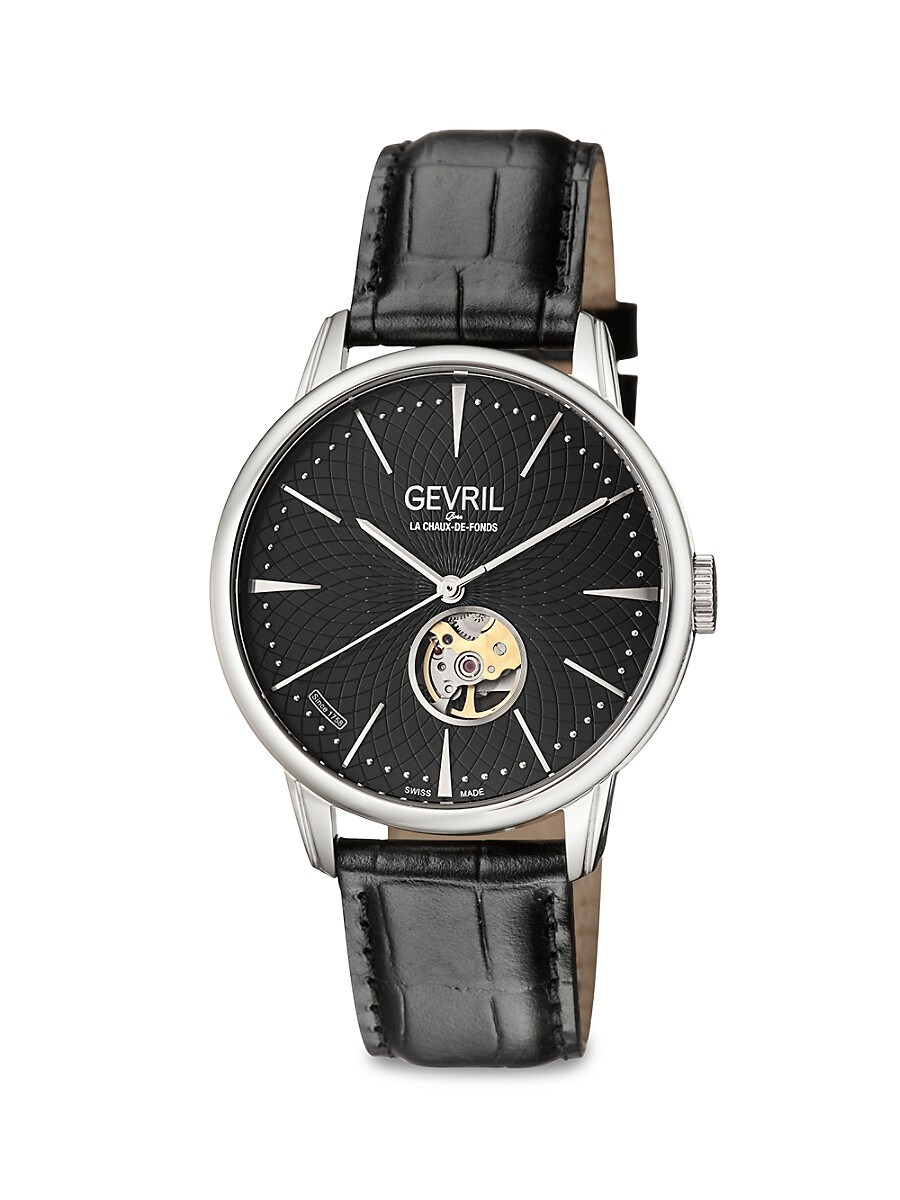 Men's Mulberry Open Heart & Exhibition Back Stainless Steel & Leather-Strap Watch