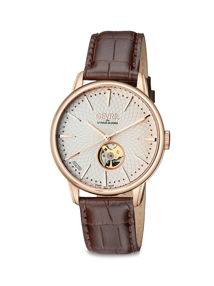 Men's Mulberry Open Heart & Exhibition Back Stainless Steel & Leather Strap Watch
